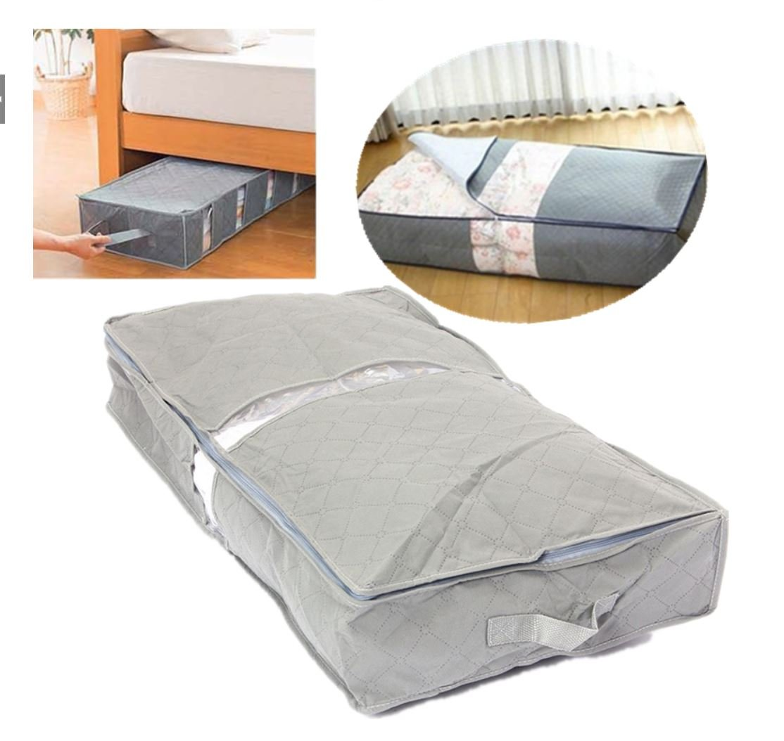 75.6×39×12.6cm Under-Bed Organizer Under The Bed Storage Bag Box Gray for Clothes Blankets it by superjune