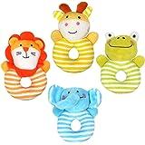 Tumama 4pcs Newborn Infant Baby Rattles Ring Plush Toys Handbell Grab Soft Stuffed Rattle Toys for Toddler-Elephant,Lion,Frog,Deer