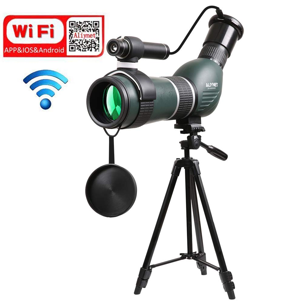 Aliynet 20-60x60mm Spotting Scope Telescope with WiFi Wireless Connect with Smartphone APP,Infrared Night Vision Monocular with Big Tripod&Phone Adapter for Outdoor Trip,Night Watching by Aliynet