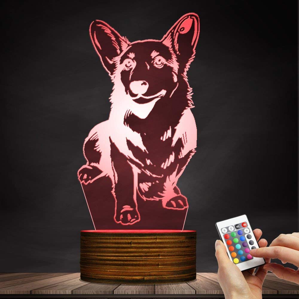 Novelty Lamp, Night Light 3D LED Lamp Optical Illusion Corgi Dog, 16 Color Remote Control Changes, with USB Charging Connector, Children's Birthday Gift Bedroom Decoration,Ambient Light by LIX-XYD (Image #4)