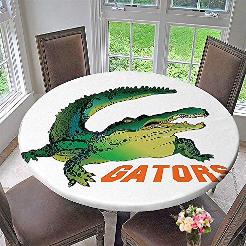 Mikihome Round Premium Tablecloth Reptile Grumpy Alligator Has A Word Gator Crocodile Wild Life Safari Aquatic Print Stain Resistant 67