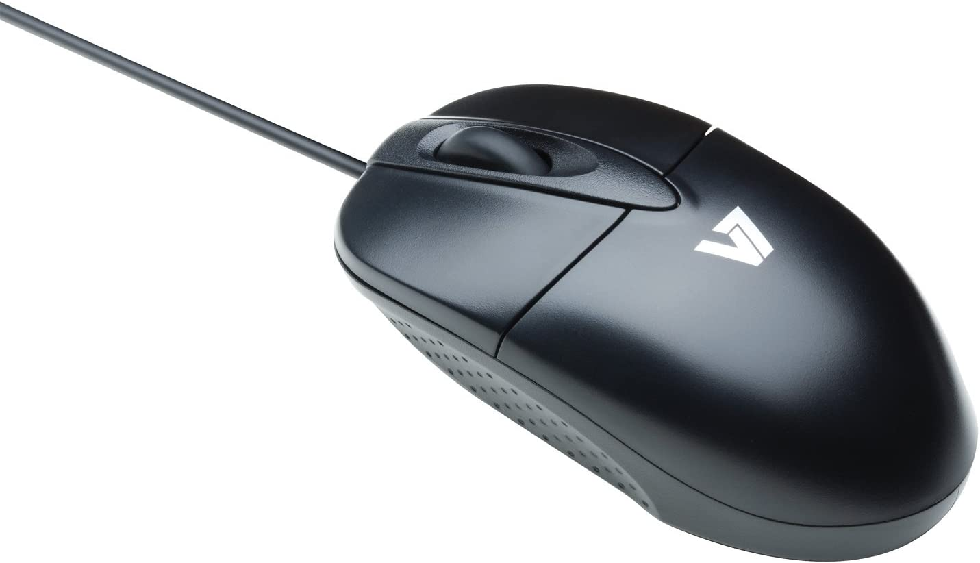 V7 Standard Full size 3 Button USB Optical Mouse with Scroll Wheel for Desktop and Notebooks (M30P10-7N) - Black