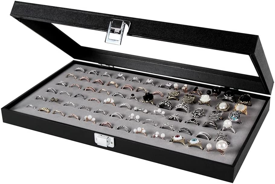 Velvet Jewelry Ring Display Organizer Case Tray Holder Rings Earring Storage Box