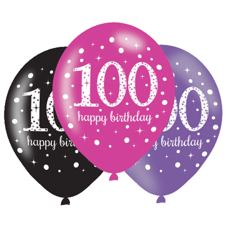Amscan 100th誕生日バルーンブラックパープルピンク6個パック   B01EHU3IP2