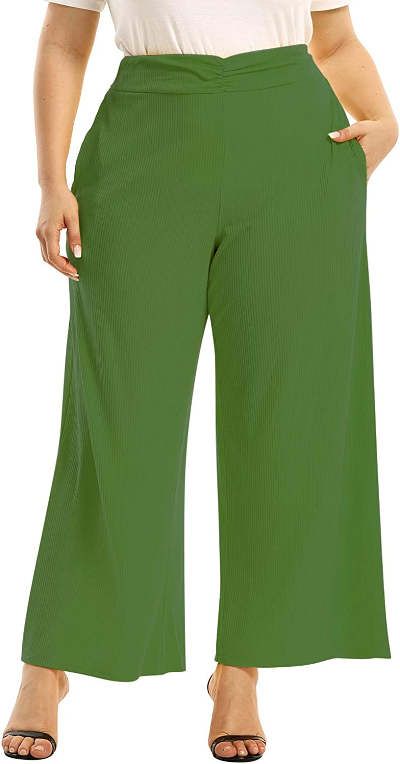 Women's High Waist Wide Leg Pant Plus Size Solid Loose Pleated Soft Summer Beach Maxi Pants with Pockets