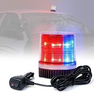 Xprite Red & Blue 12 LEDs Rotating Beacon Strobe Light w/Magnetic Mount, Revolving Warning Police Light for Emergency Caution Vehicle, Snowplow, Patrol Cars, Truck UTV