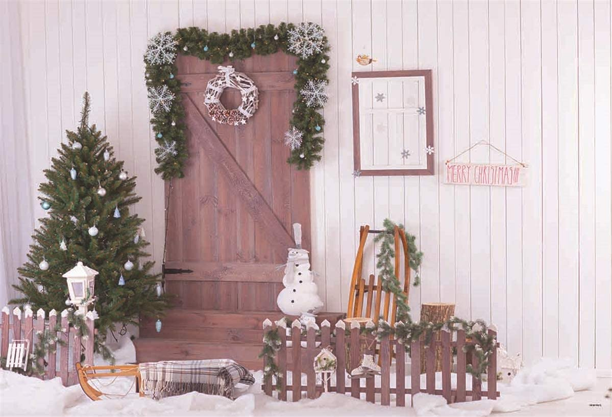 White Wood Wall Merry Christmas Backdrops for Photography Prop Snow Microfiber Photo Booth Backdrops for Picture 220x150cm 7x5ft