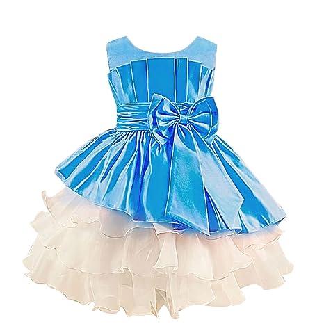 M&A Vestido Niña Princesa Para Fiesta Ceremonia Boda De Noche azul 120cm