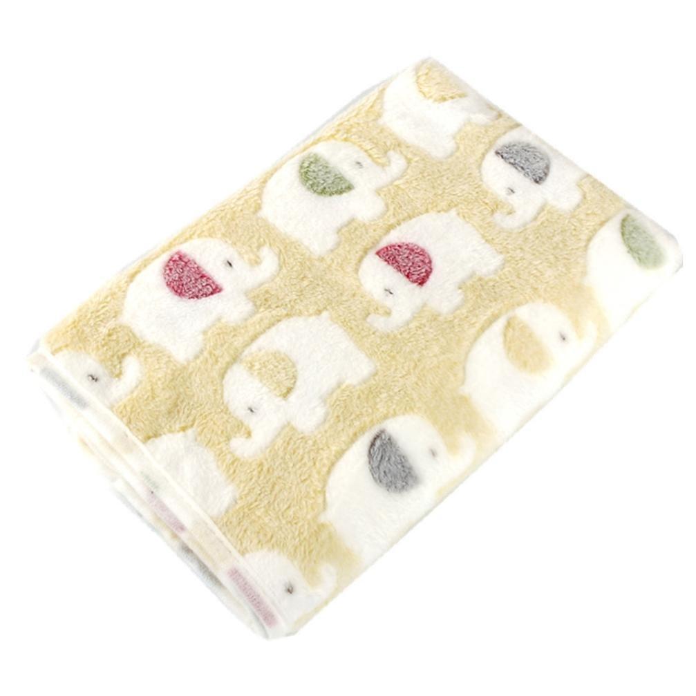 MALLOOM Warm Pet Bed Mat Puppy Cat Elephant Print Fleece Soft Blanket for Small Dog (2020CM, Yellow)