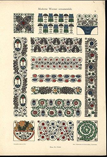 Beautiful Intricate Patterns Laurels c.1905-10 vintage color Art Nouveau print - Laurel Pattern