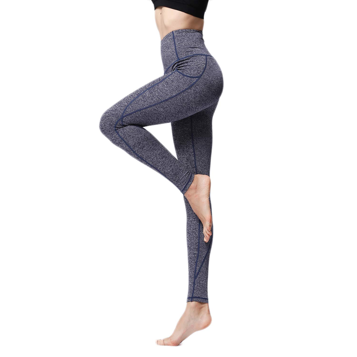 blueee S US 02 MTSCE High Waist Women Yoga Pants with Pocket Soft Lightweight Leggings Tummy Control Compression Pants(SXL)