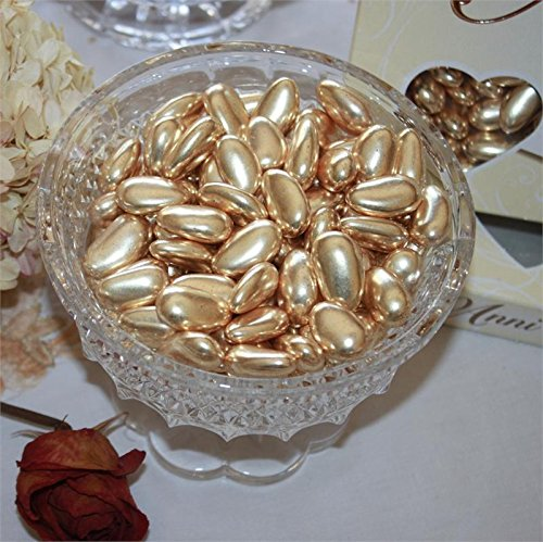FavorOnline Dipped Gold Jordan Almonds European Dragees - 1 Pound]()