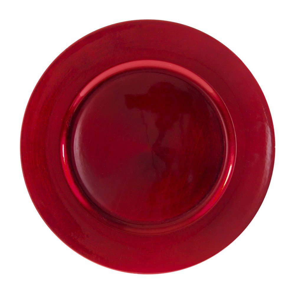 Christmas Tablescape Décor - 10 Strawberry Street Red lacquer 6-piece round charger plate set