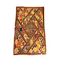 Mogul Ethnic Tapestry Embroidered Handmade Patchwork Brown Wall Hanging Throw 90x80