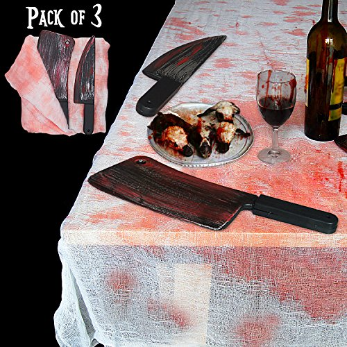 Pawliss Set of 3 Halloween Scary Butcher Meat Cleaver Knife & Blood White Gauze Tablecloth Decorations Zombie Party Supplies