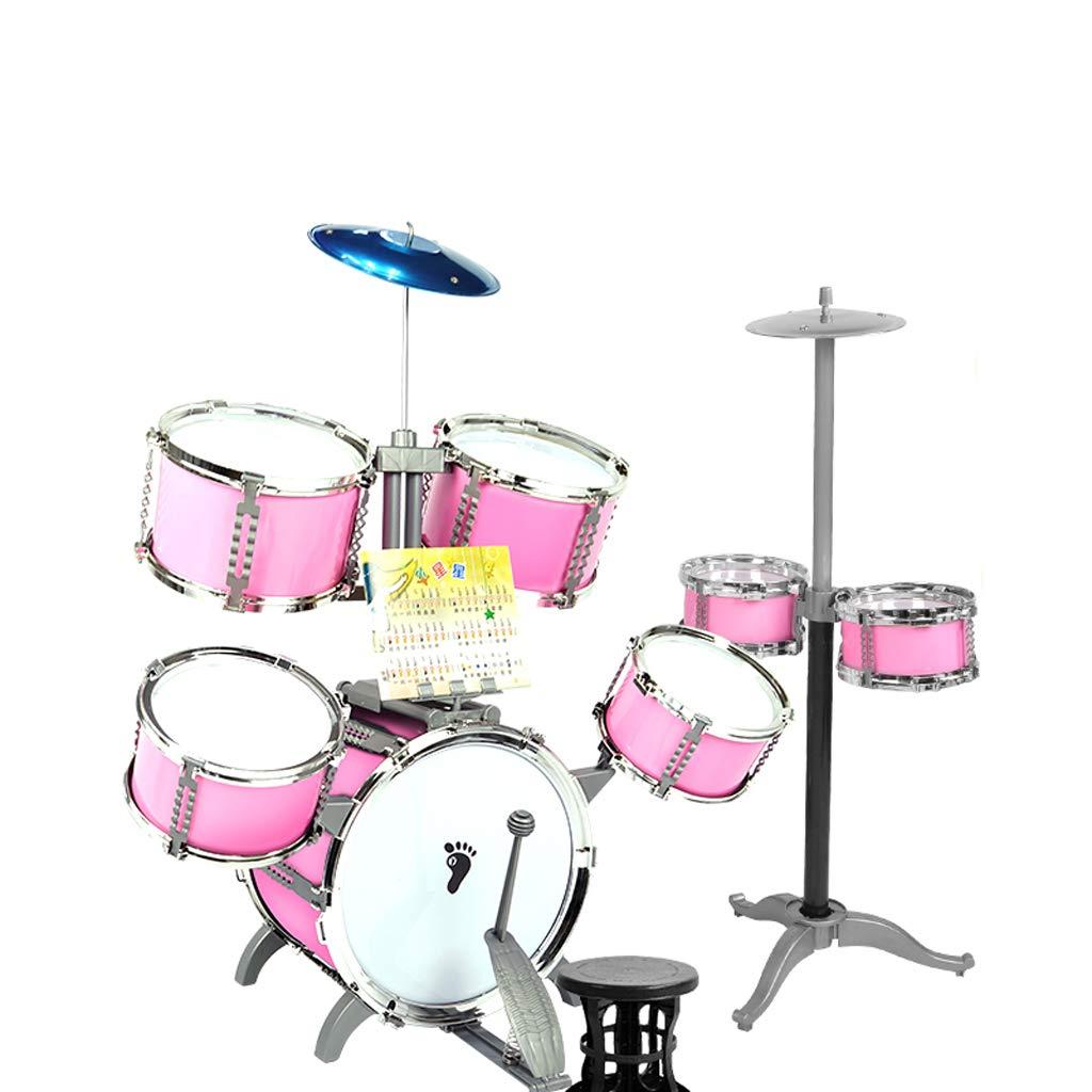 Pink : DUWEN 子供のドラム3-6歳のドラム楽器の玩具初心者のビート Pink) B07KWRX5YQ (色
