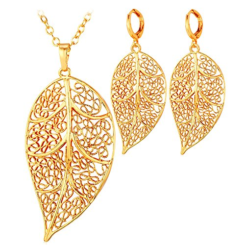 18k Filigree Pendant - 18K Gold Plated Filigree Leaf Pendant Necklace Earrings Jewelry Set For Women Or Girls