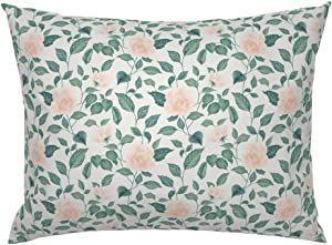 Roostery Pillow Sham, Rose Garden Floral Flowers Roses Leaves Blooms Print, 100% Cotton Sateen 26in x 20in Knife-Edge Sham