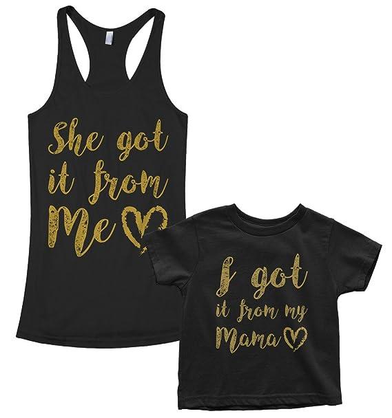 Amazon.com: threadrock I Got Ella desde mi mama bebé T-Shirt ...