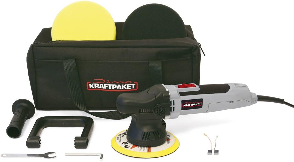 Dino Kraftpaket Action Akku Auto Poliermaschine XXL-HUB Auto Profi-Set 3 Pads