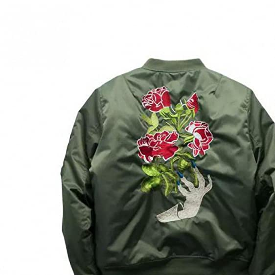 Autumn and winter Army Green Special Flower Ebroider Chic Mens Male Fashion Casual Coats Ma1 Bomber
