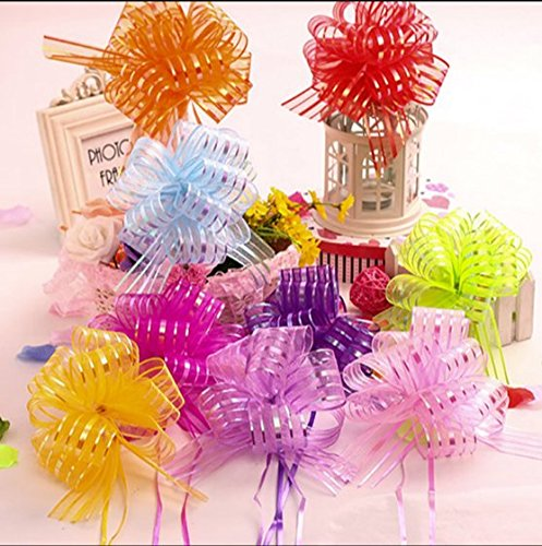 AUCH Elegant Beautiful Festival Assorted Colors Crystal Yarn Pull Bows/Christmas Gift/Basket Knot with Ribbon Strings to Wrap the Box or Floral Decoration,Set of 9 (50#)