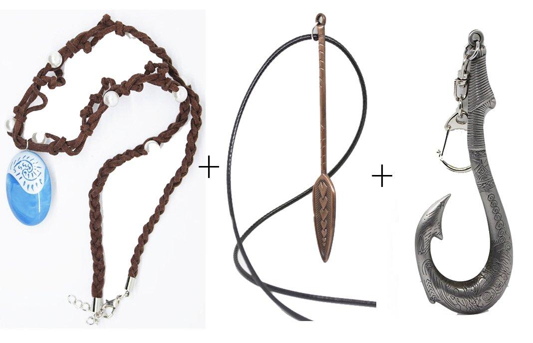 Non-Branded 3 pcs Seashell Necklace & Paddle Necklace & Maui Fish hook Keychain