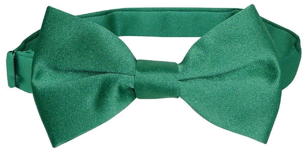 Vesuvio Napoli BOYS BOWTIE Solid EMERALD GREEN Color Youth Bow Tie