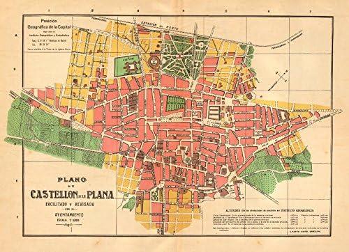 Castellon De La Plana Plano Antiguo Cuidad Antiguo Town Plan
