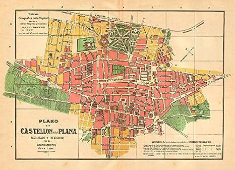Castellon de la plana. Plano Antiguo Cuidad. Antiguo Town Plan. Martin – C1911 – Old Antiguo Mapa Vintage – Mapas de Impreso de España: Amazon.es: Hogar