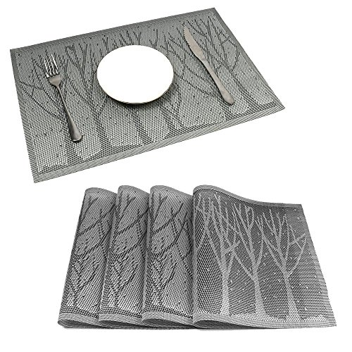 HEBE Placemats for Dining Table European Style PVC Placemats Set of 4 Heat Insulation Stain Resistant Kitchen Table Mats(4, Grey (Dining Table European Design)