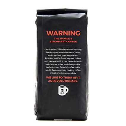 amazon com death wish ground coffee the world s strongest coffee fair trade and usda certified organic 16 ounce grocery gourmet food