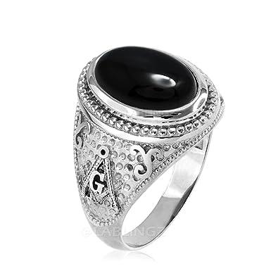 Amazon com: 14K White Gold Masonic Ring with Black Onyx