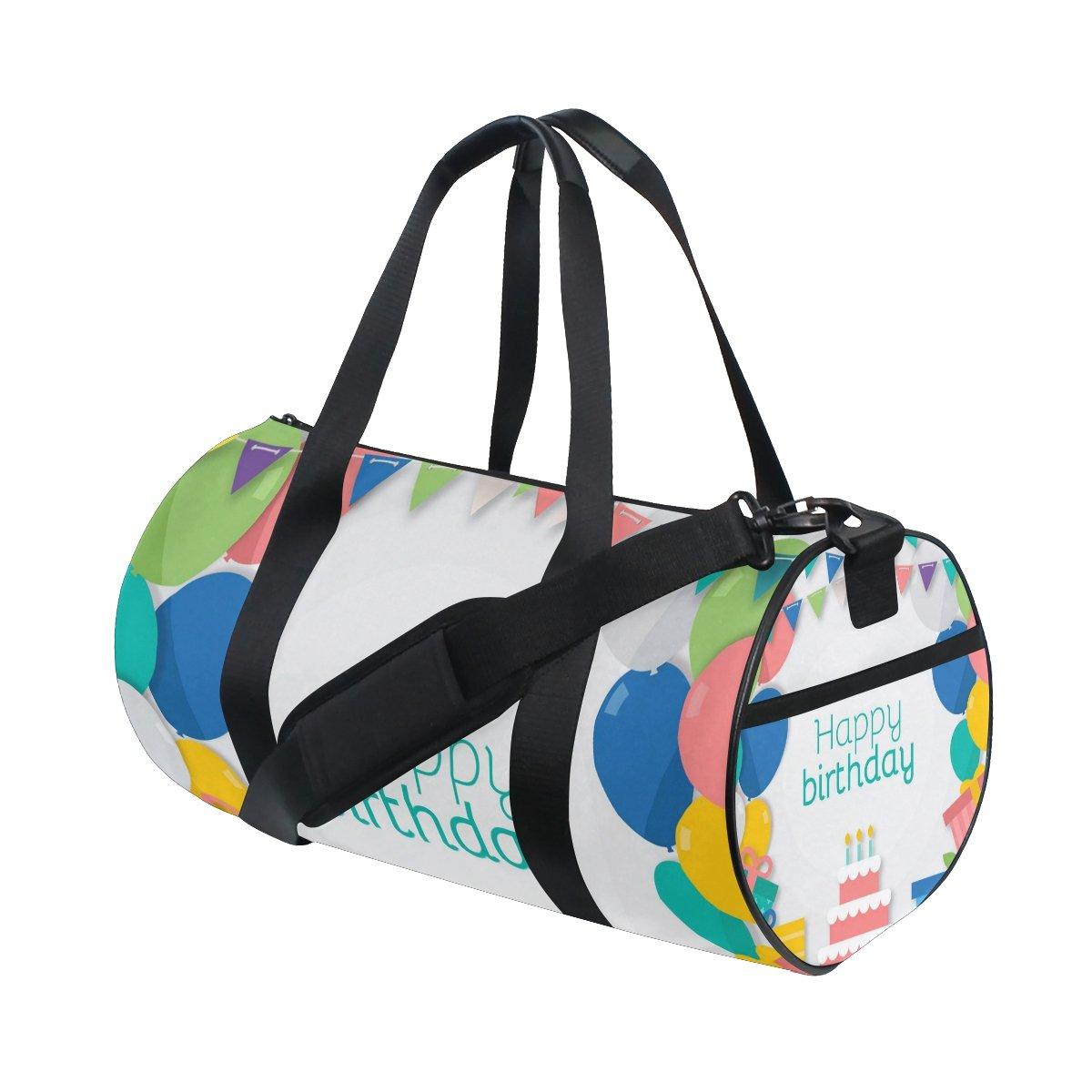 JIUMEI Colorful Balloon Gift Box Happy Birthday Party Lightweight Canvas Sports Bag Travel Duffel Yoga Gym Bags Shoulder Bag for Women Men Girls Boys