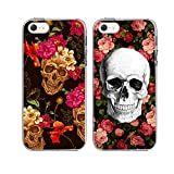 iPhone5/5S/SE 2 Cases-TTOTT New Fashion Floral Skull Red Rose Flower Art Design,Slim Soft TPU Bumper Anti-Scratch Hard Back PC Best Friend Couple Matching Cover Cases for iPhone5/5S/SE 4inch