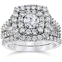 2 cttw Diamond Cushion Double Halo Engagement Wedding Ring Set 10k White Gold