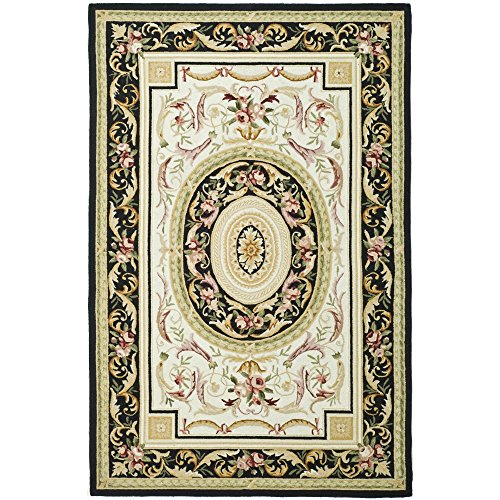 Safavieh Chelsea Collection HK72B Hand-Hooked Ivory and Black Premium Wool Area Rug (5'3