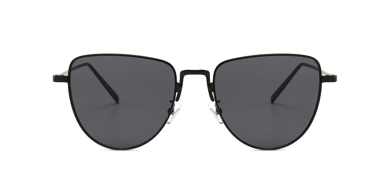 38a731972 Amazon.com: Zeraca Cat Eye Sunglasses with AC Lens Metal For Men Women UV  Protection (Black, Grey): Clothing