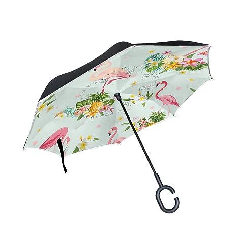 COOSUN Flamenco del pájaro y la capa de flores tropicales doble del paraguas invertido inversa para
