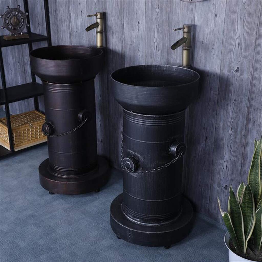 Color : Bronze ZYACHI Lavabo Avec Robinet R/étro Bouche Dincendie Style Industriel Am/éricain /Évier En Fer