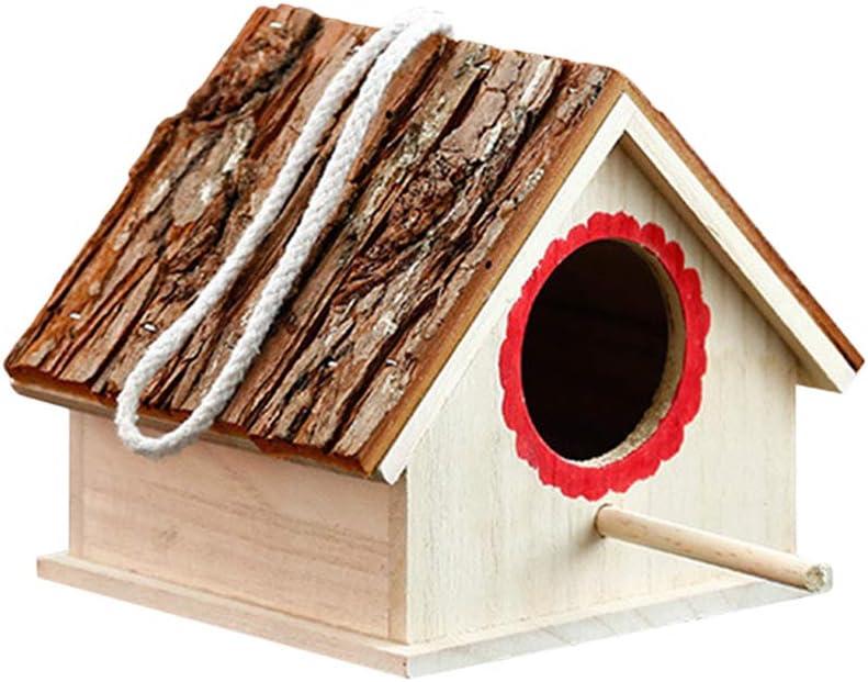 POPETPOP Pajarera Creativa de Madera en Forma Casa para Pájaros y Decoración de Jardín