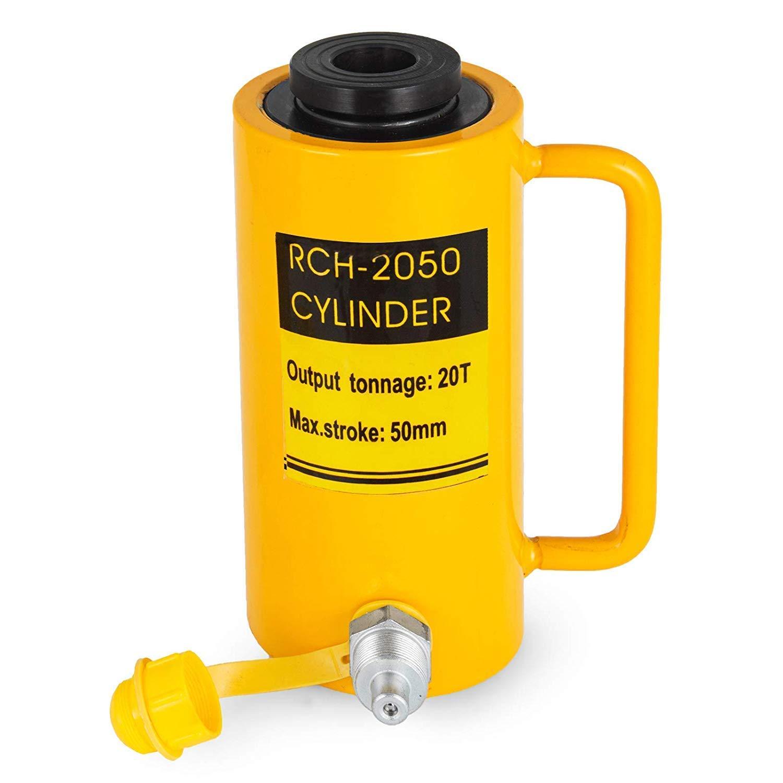 FlowerW 20T//44000LBS Hollow Hydraulic Cylinder Jack 50mm Plunger Ram Hydraulic Solid Cylinder Hydraulic Jack for Car//Van//Boat//Truck//Caravan