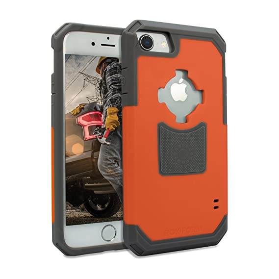 buy popular 6dddf 438c4 Rokform Rugged Series iPhone 8 Case / iPhone 7 Case Protective magnetic  case with twist lock and universal magnetic car mount (Orange)