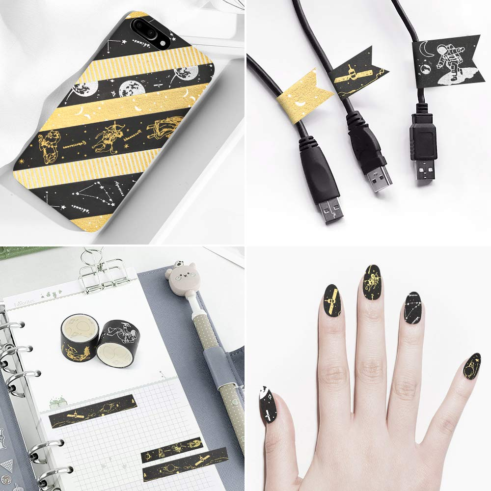 Gold Foil Washi Tape Set - 20 Rolls DIY Decor Japanese Adhesive Masking Tape for Scrapbook, Bullet Journal, Planner, Arts & Crafts, Gift Wrapping