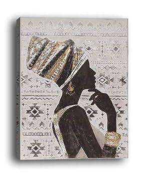 Wowdecor Murale Art Moderne Impressions Sur Toile Peinture   Beauté  Africaine Fille Côté Face Giclée Photos