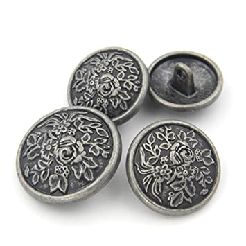 Nähen Jeans-Blumen Dekorative Muster Metall Tasten, 10 Stück, 20 mm ...