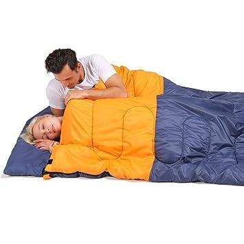 HM&DX Bolsas De Dormir Doble Adultos 4 Estaciones Ultraligero Algodón Camping Bolsa De Dormir con Almohada Saco De Compresión Hiker Mochilero Viajar ...