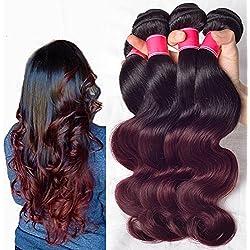 """Wigsforyou Body Wave Brazilian Ombre Human Virgin Remy Hair Bundles Extension Color 1b/99j Burgundy 4 Bundles Human Hair Weave (18 20 22 24"""")"""