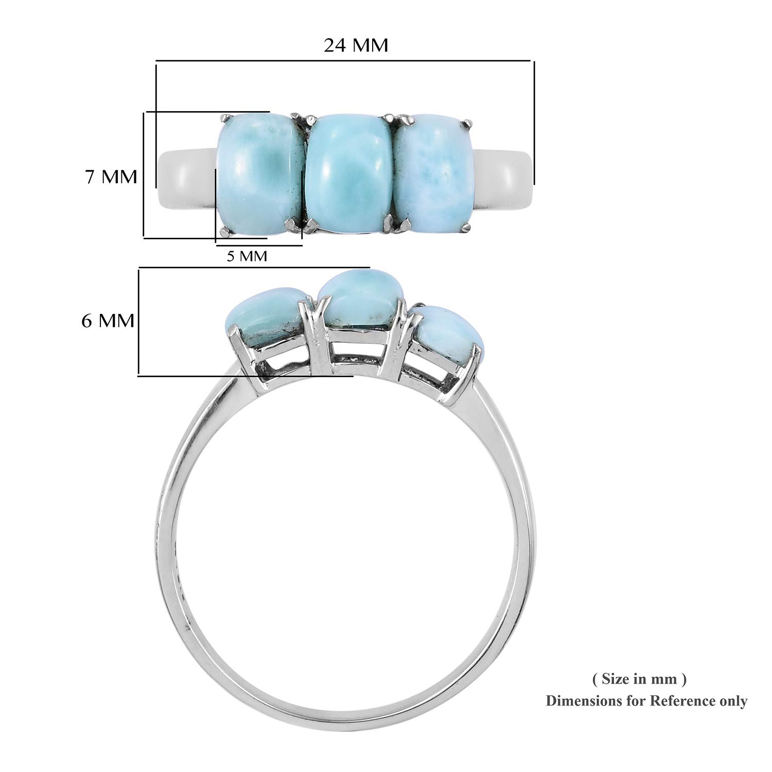 Shop LC Delivering Joy 3 Stone Ring Stainless Steel Cushion Green Larimar Gift Jewelry for Women Size 8
