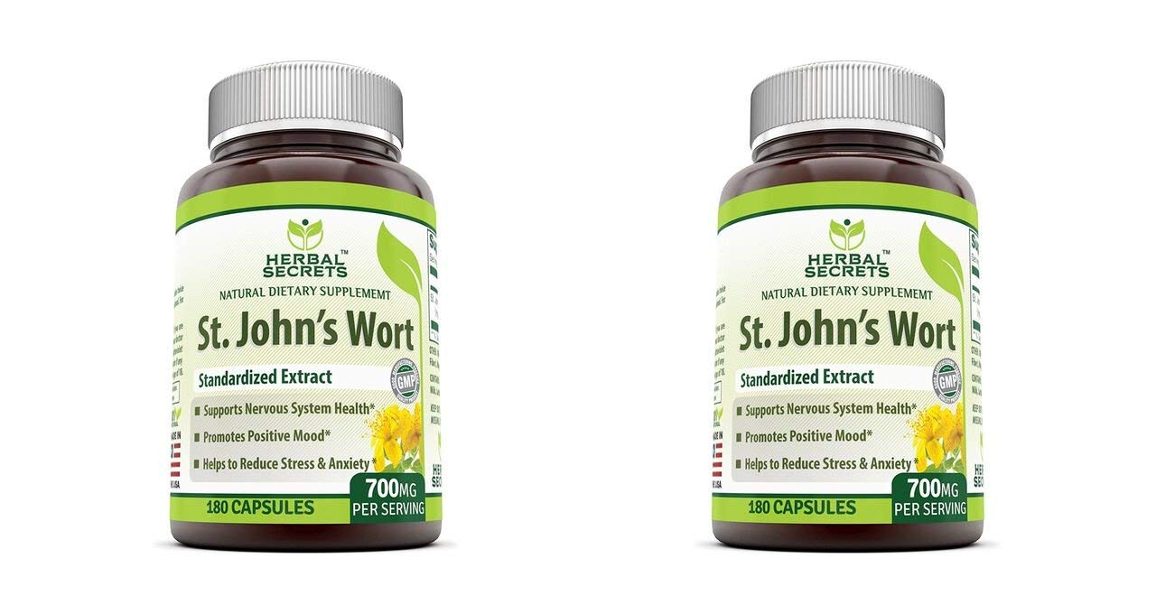Herbal Secrets St. John's Wort 700 180 Capsules - Supports feelings of calm and relaxation* Helps maintain a positive mood* (Pack of 2)
